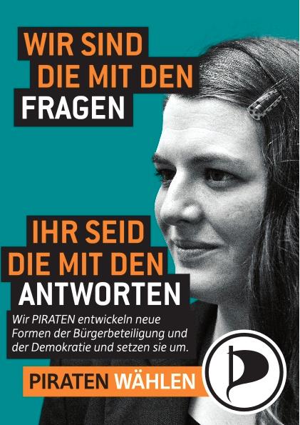 Jessica Zinn auf Berliner Wahlplakat der Piratenpartei