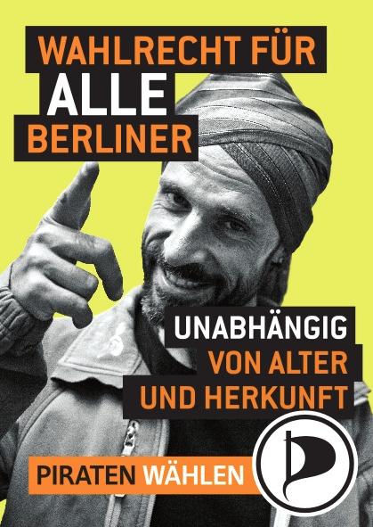 Fabricio do Canto auf Berliner Wahlplakat der Piratenpartei