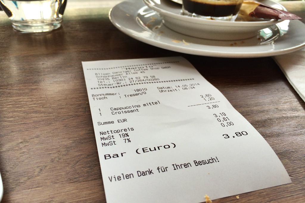Rechnung Kaffee Manolo, ermäßigte Mehrwertsteuer