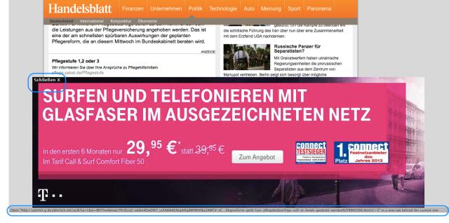 Schließen-Button auf Telekom-Ad