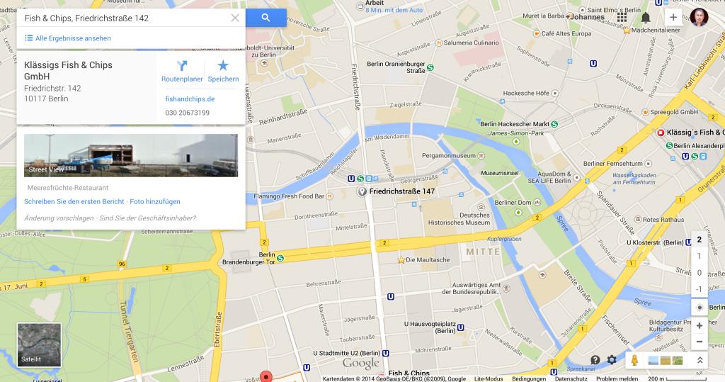 Fish & Chips @ Friedrichstraße auf Google Maps