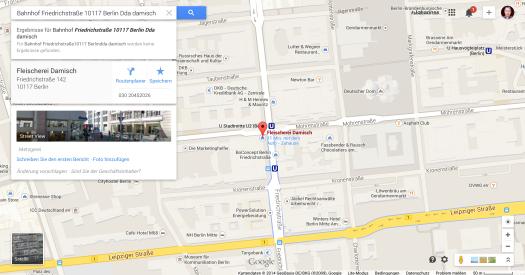 Damisch @ S-Bahnhof Friedrichstraße Google Maps