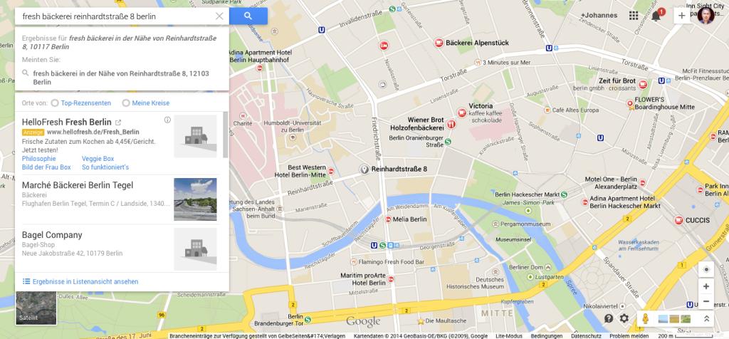 Fresh Bäckerei, Reinhardtstraße auf Google Maps