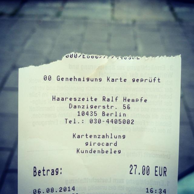 haircut receipt