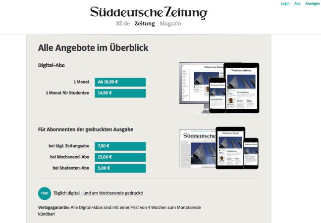 Preisübersicht digital Süddeutsche Zeitung