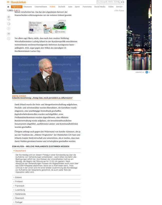 Screenshot von einem Ausschnitt einer Artikelseite auf Handelsblatt.com