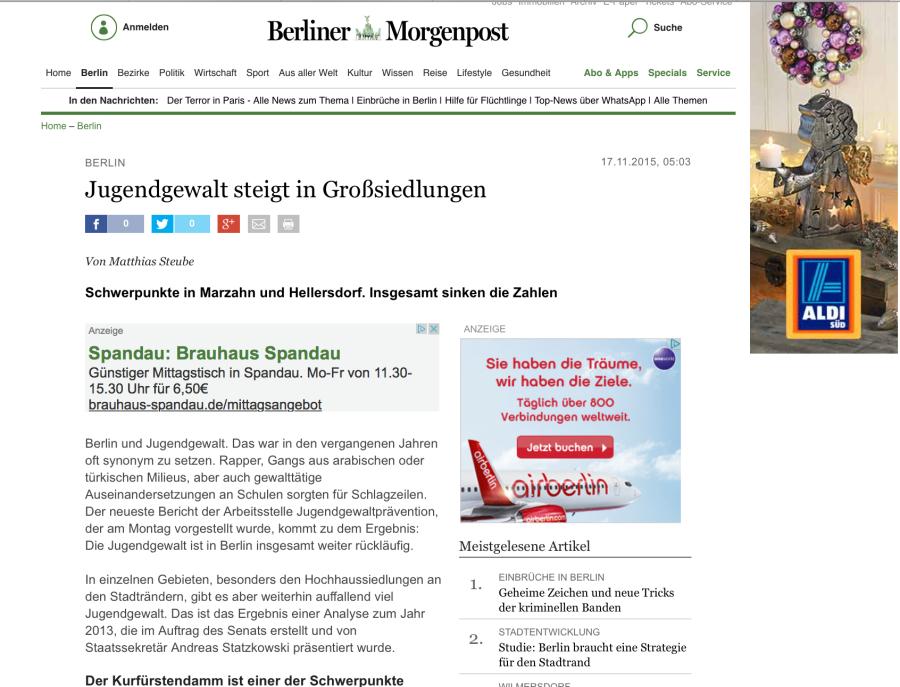 Wer vermutet hinter diesem Titel, dass die Jugendgewalt in Berlin seit 10 Jahren abnimmt?