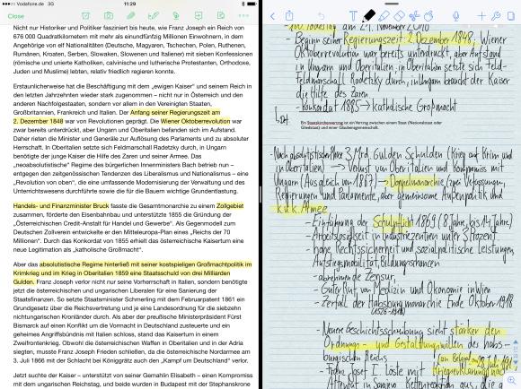 Inhalte aufnehmen und Inhalte verarbeiten: Mit der Funktion des geteilten Bildschirms lässt sich auf dem iPad mit zwei Programmen gleichzeitig arbeiten (in diesem Fall Evernote und Notability).